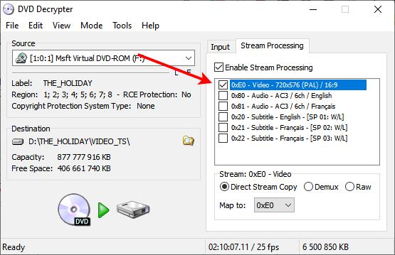 Sélection de la piste vidéo à extraire avec dvd decrypter